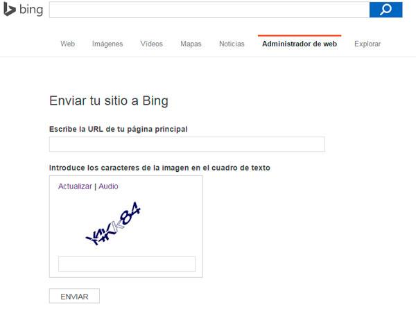 enviar web a bing